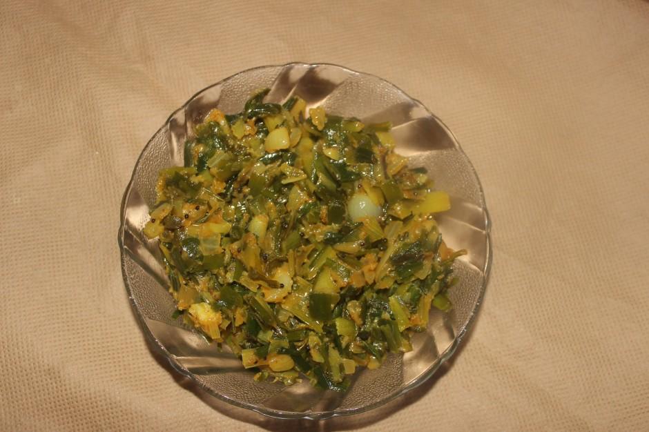 Spring onions bhaji