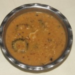 Hagalkai kootu or bittercourd/karela curry