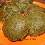 Palak puri/poori or spinach puri recipe