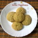 Kesar nankhatai biscuit or kesar flavoured nankhatai cookies recipe