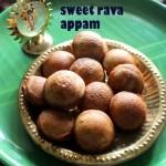Sweet rava appam recipe – How to make semolina jaggery appam recipe – Krishna Jayanthi recipes