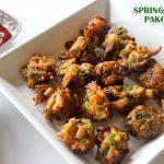 Spring onion pakora recipe – How to make spring onion fritters recipe – spring onion recipes