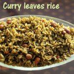Curry leaves rice recipe – How to make karibevu chitranna or karuveppilai sadam recipe – rice recipes